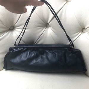 Emporio Armani Black Leather Clutch Bag